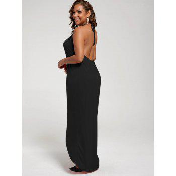 Plus Size Halter High Slit Dress - BLACK XL