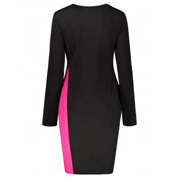 Two Tone Color Block Long Sleeve Plus Size Dress - ROSE RED 5XL