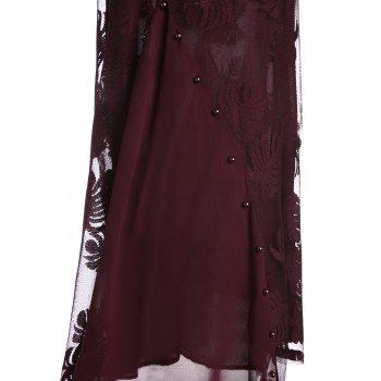 Mesh Trim Beaded Plus Size Long Top - WINE RED 5XL