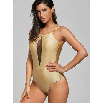 High Neck Mesh Insert One Piece Swimsuit - EARTHY M