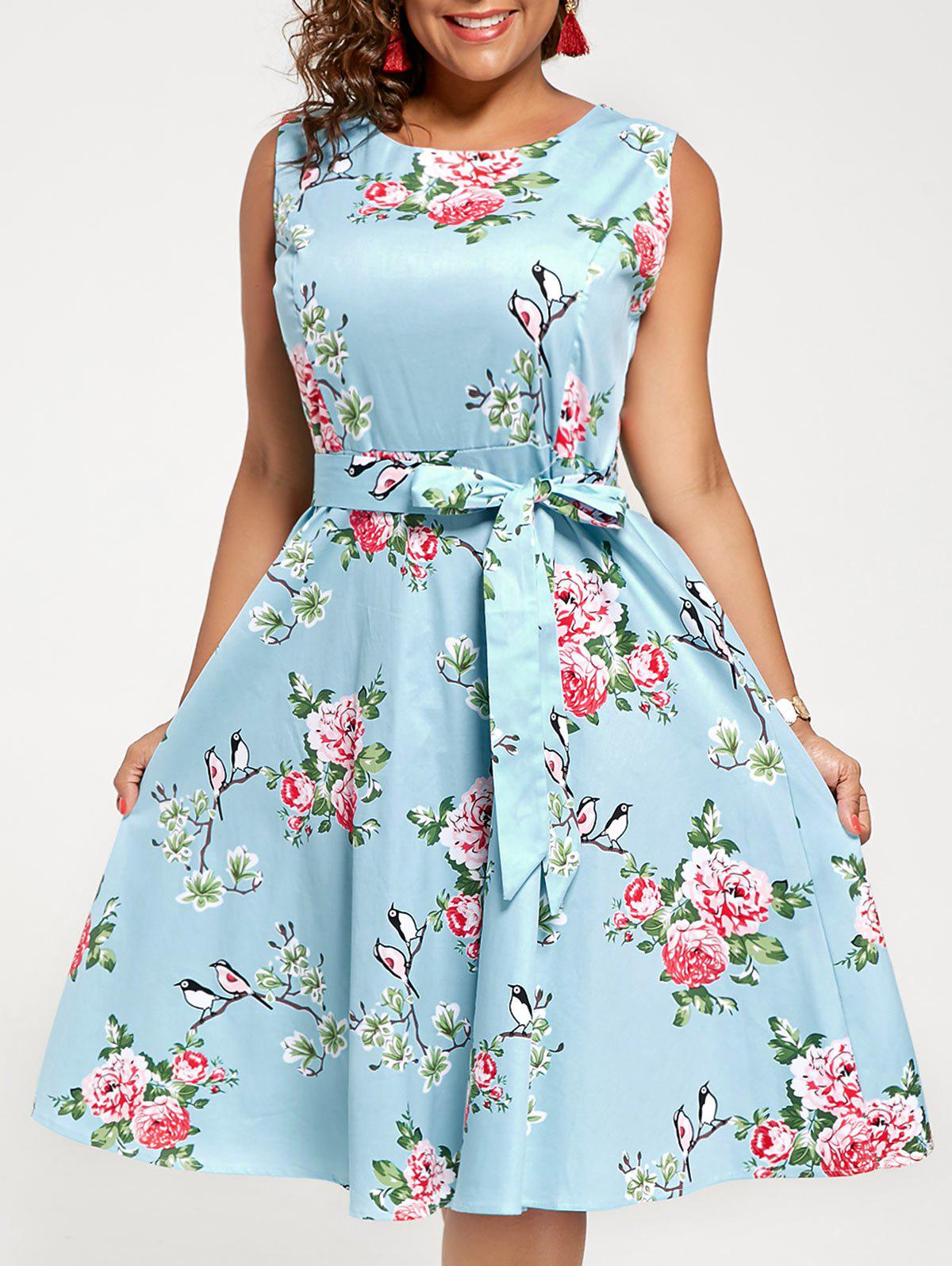 2018 Sleeveless Floral A Line Plus Size Midi Dress CLOUDY XL In ...