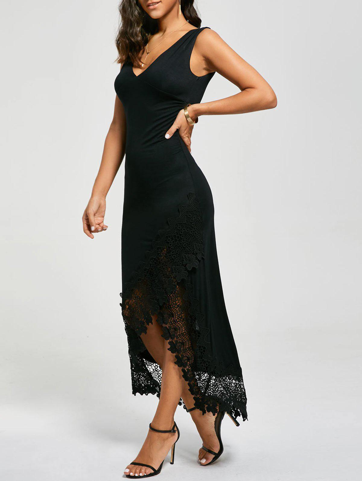 Lace Panel Plunging Sleeveless Maxi Dress - BLACK 2XL