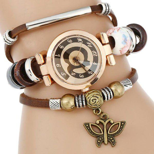 Faux Leather Number Charm Bracelet Watch - COFFEE