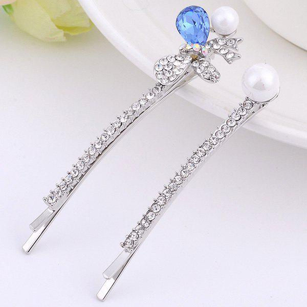 1 Pair Fake Pearl Gemstone Rhinestone Inlay Hairpins - BLUE
