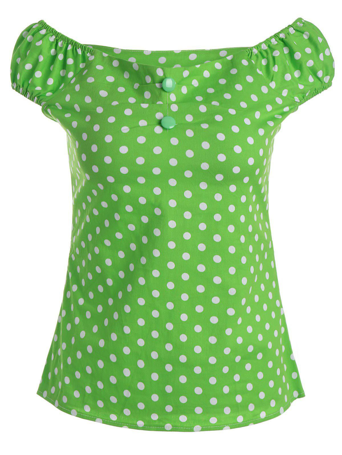 Polka Dot Off The Shoulder Top - GREEN XL