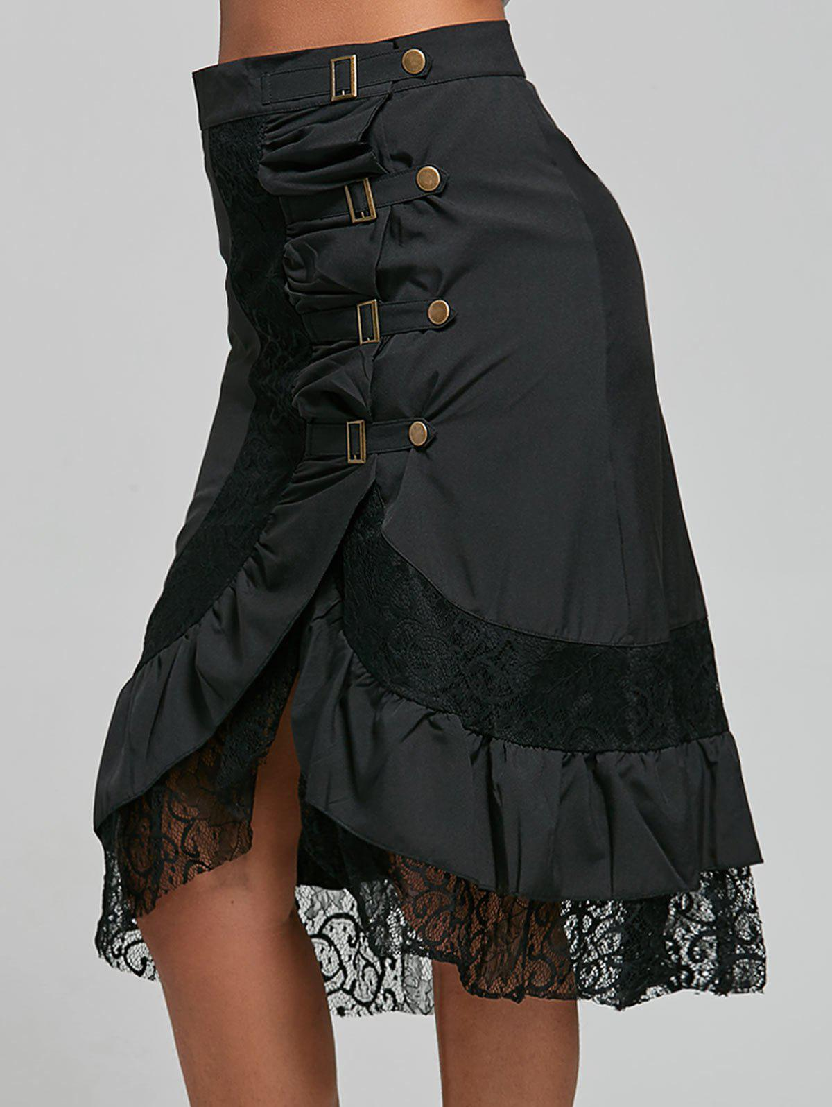 Punk Style Riveted Black Laced Skirt For Women - BLACK S