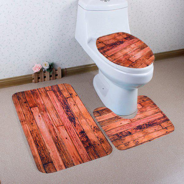 Antislip Wood Grain Pattern 3Pcs Set de tapis de salle de bain - BRUN