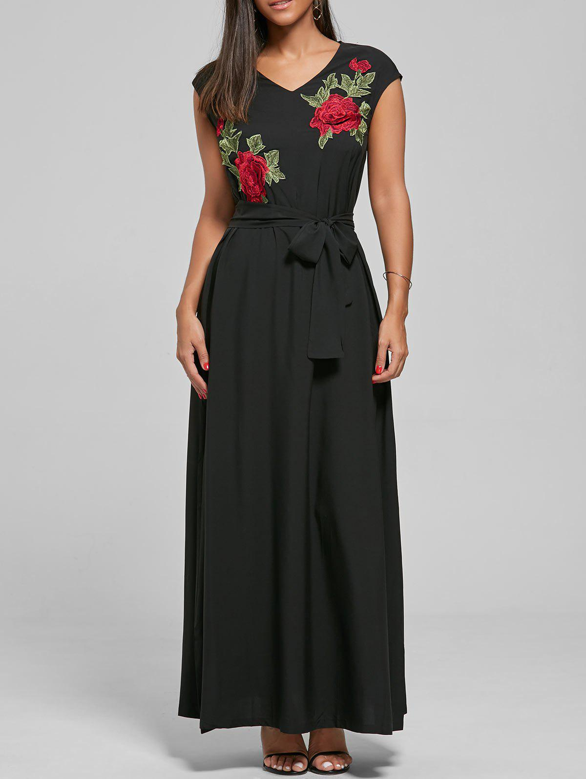 Belted Embroidered Maxi Dress