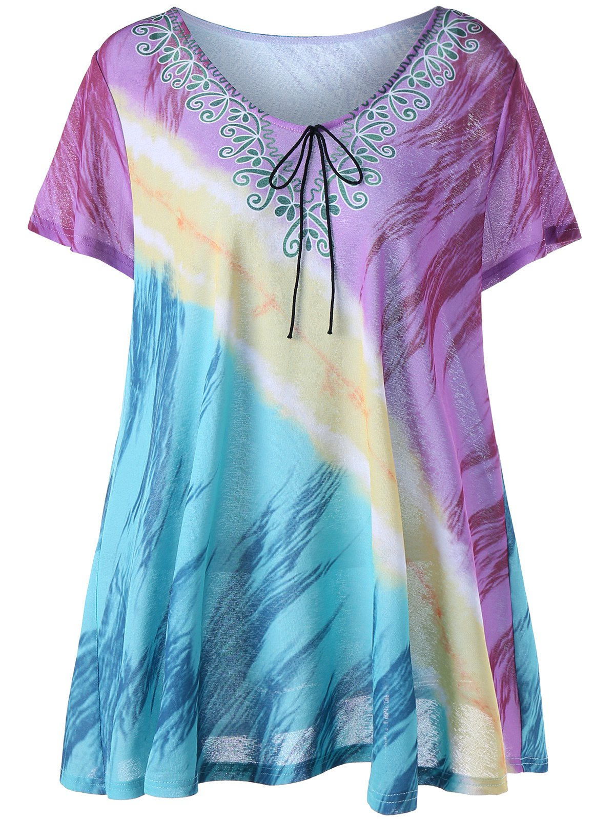 Plus Size Printed Tunic Tee - COLORMIX XL