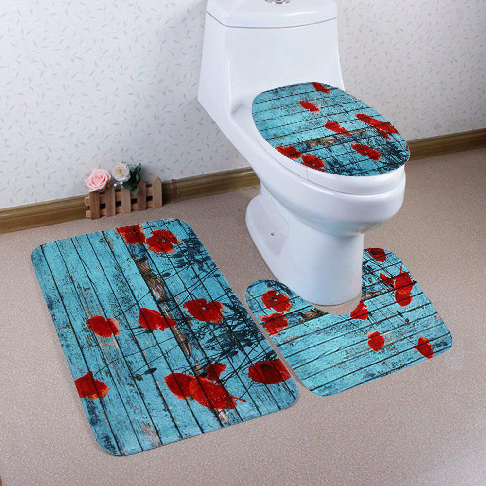 Woodgrain 3Pcs/Set Soft Toilet Cover and Floor Mats floor mats