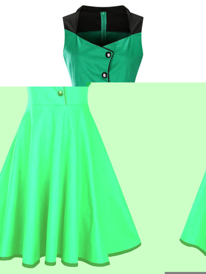 A Line Sleeveless Vintage Plus Size Dress - GREEN 2XL