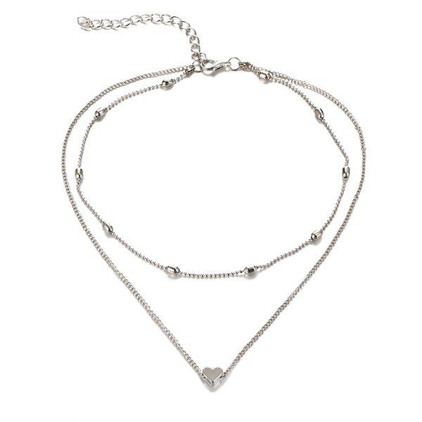Collarbone Heart Layered Necklace - SILVER