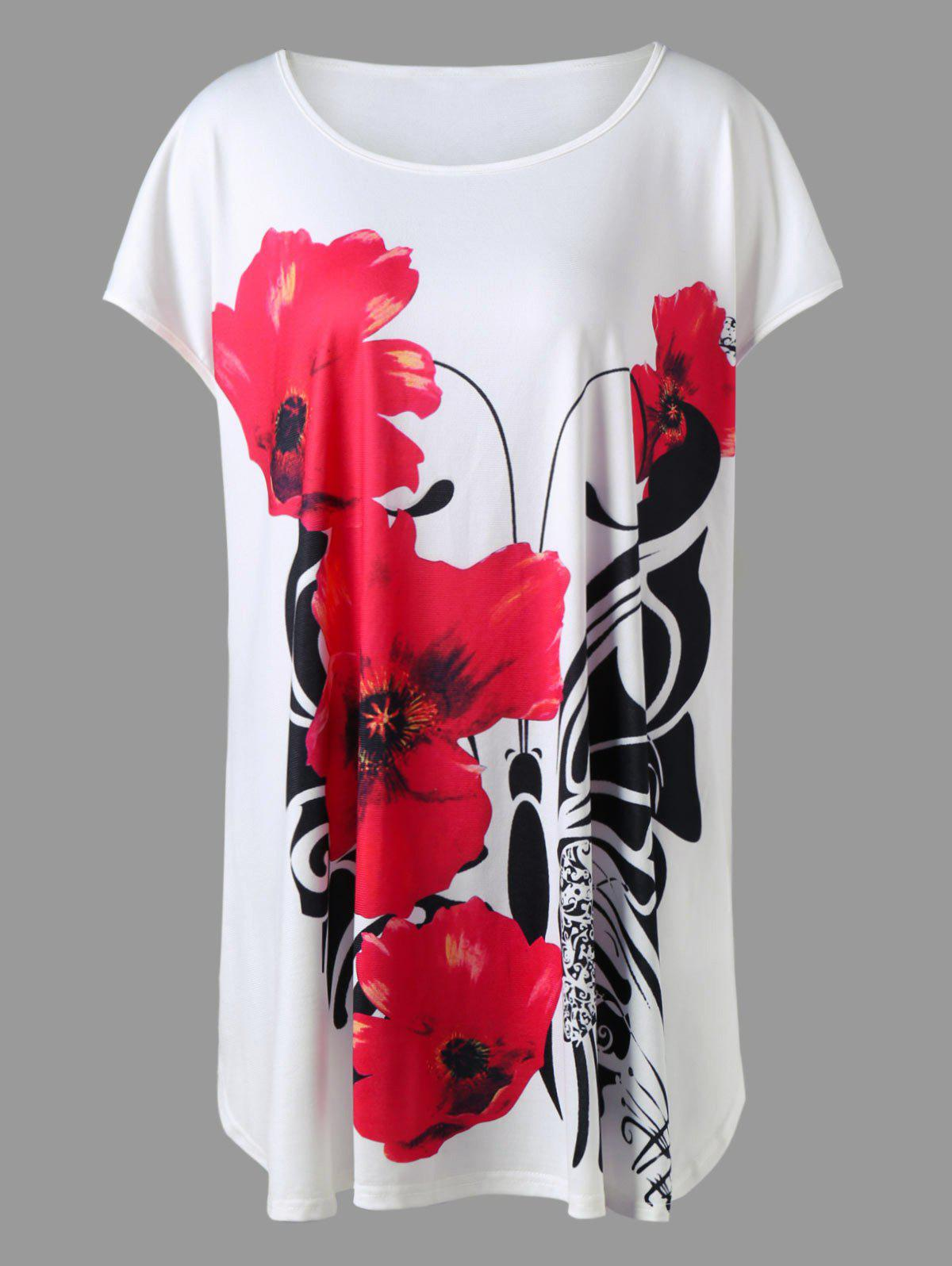 Plus Size Floral Longline Top - WHITE XL