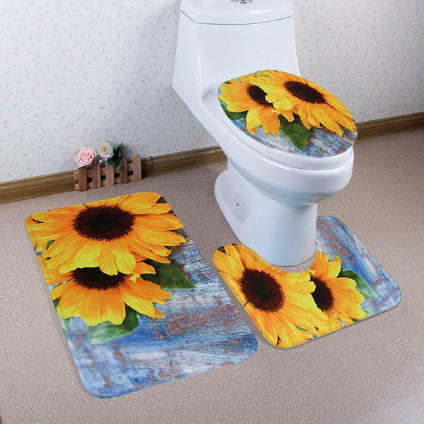 Sunflower Soft Coral Fleece 3Pcs Bath Mats Set - COLORMIX