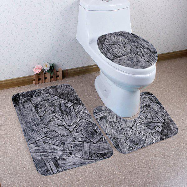 Non Slip 3 Pieces Wood Shavings Toilet Mats Set - GRAY