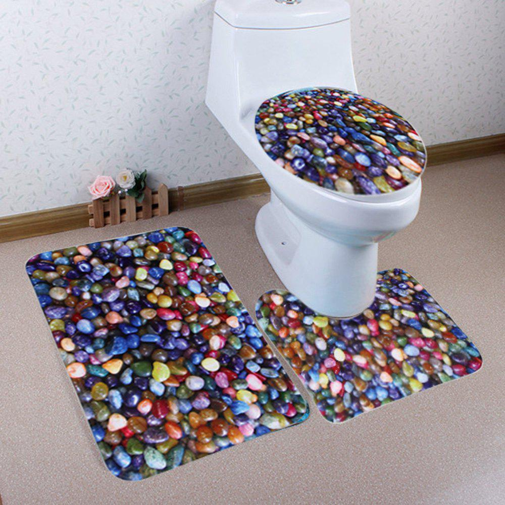 Colorful Stone 3Pcs/Set Toilet Lid Cover Floor Mats floor mats