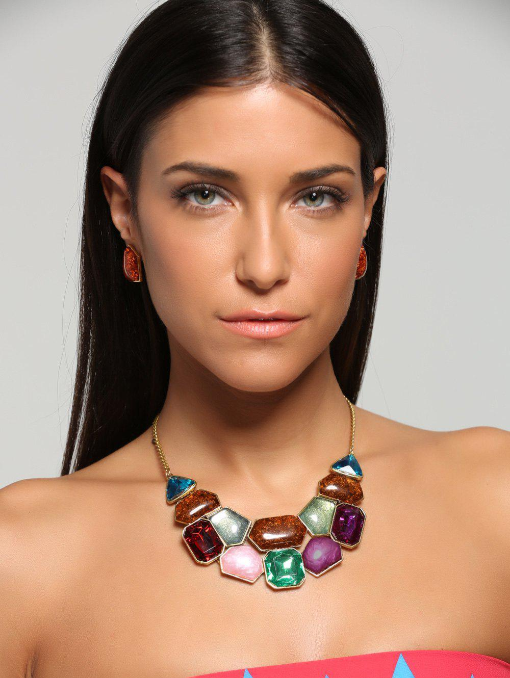 Faux Gemstone Statement Boho Necklace and Earrings statement alloy crochet earrings and necklace