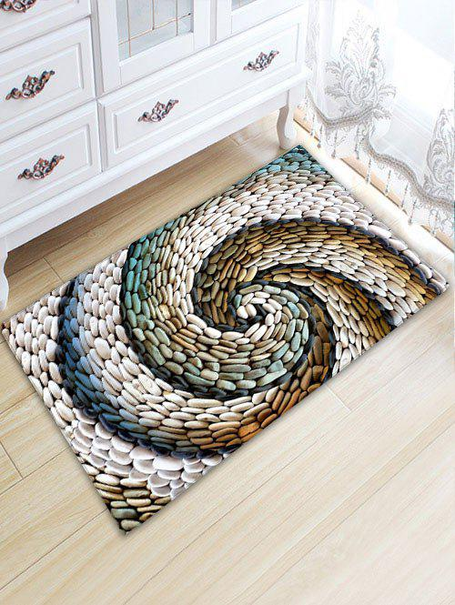 Bathroom Flannel Whirlwind Pebbles Printed Skidproof Rug skidproof flannel bathroom rug with nightfall surfing print