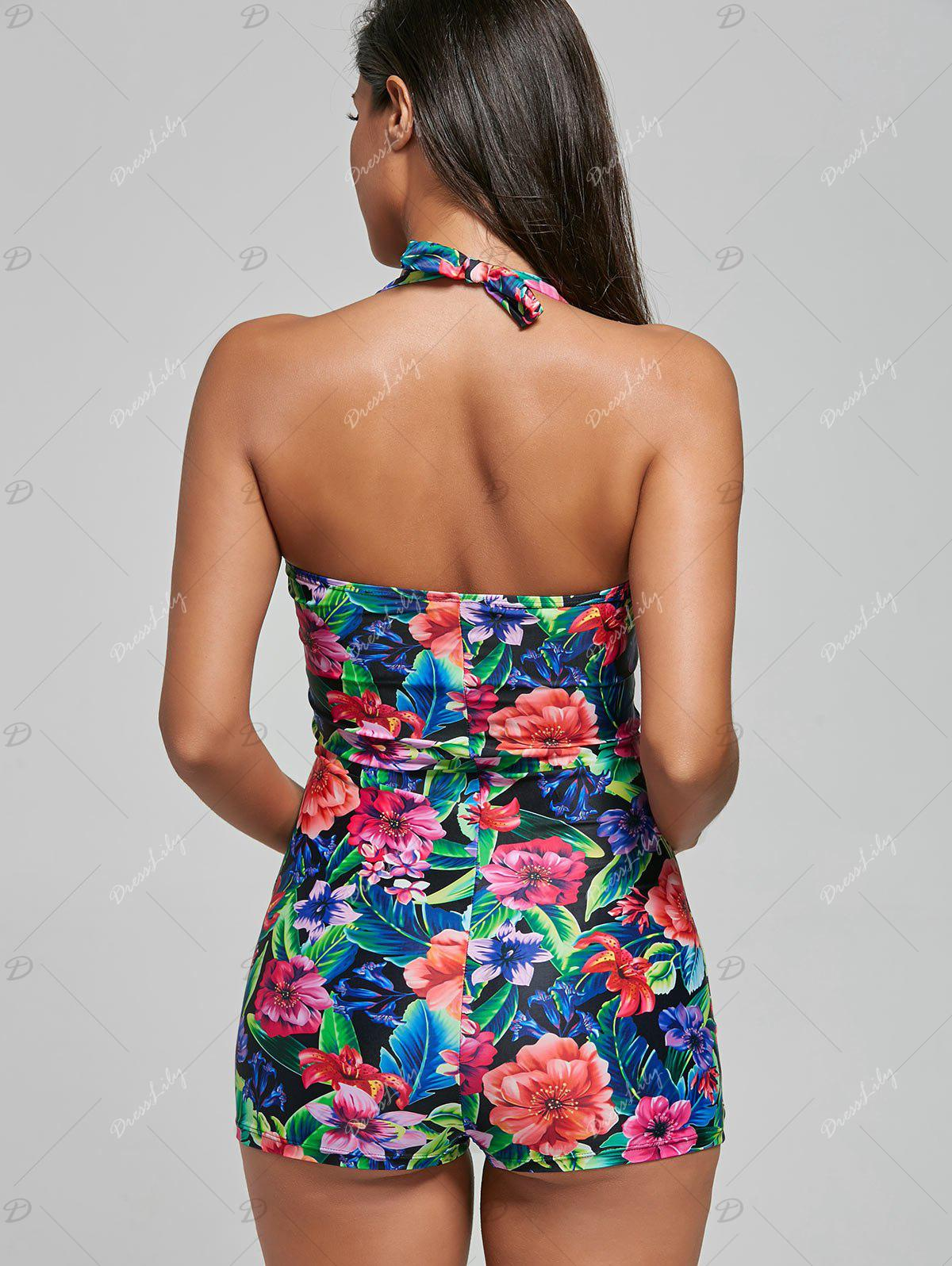 Backless Halter Floral One Piece Swimsuit - COLORMIX M