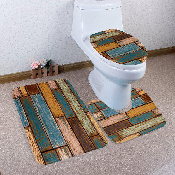 Vintage Plank Coral Fleece 3Pcs Bathroom Mats Set - COLORFUL