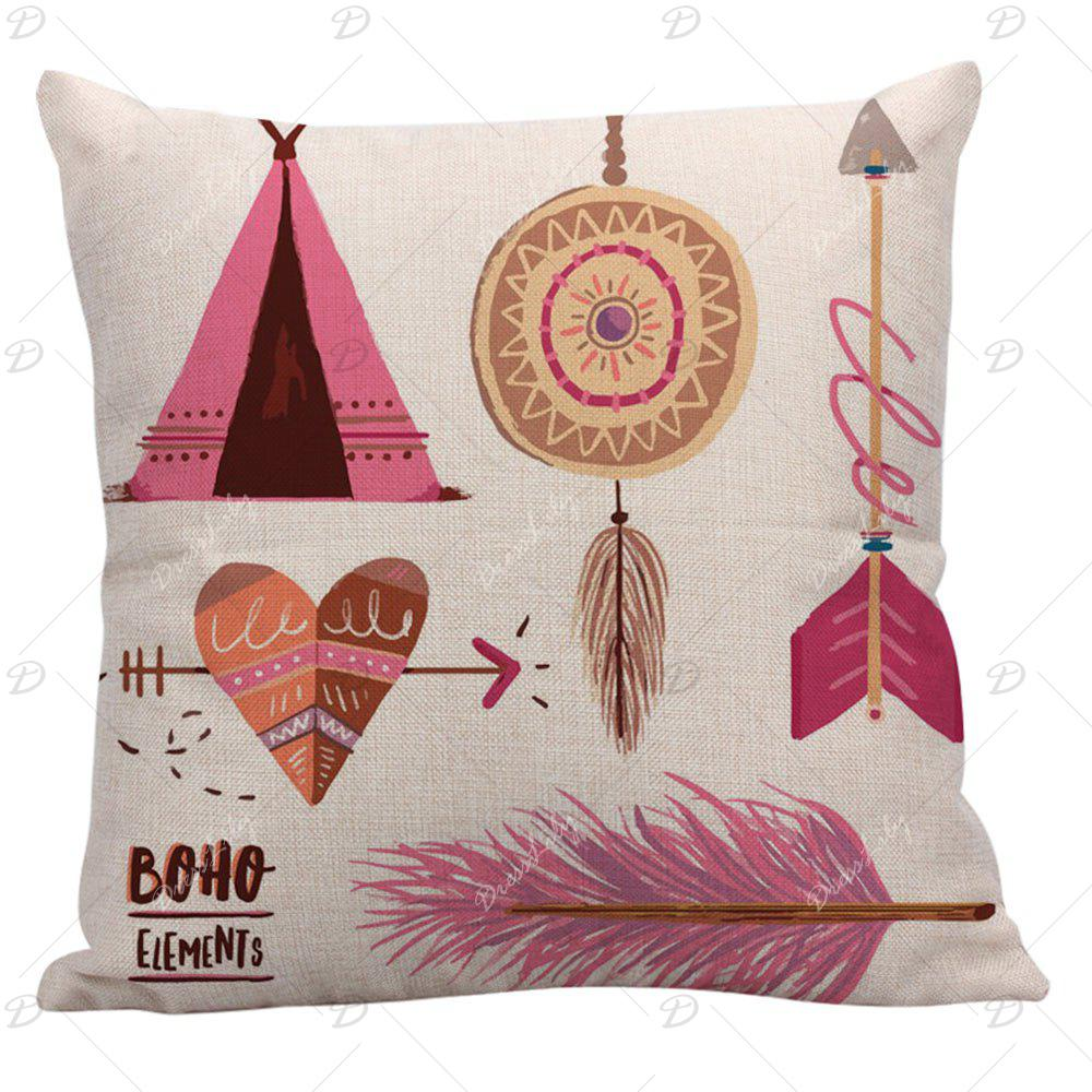 Arrow Heart Feather Dreamcatcher Print Bohemian Pillow Case - COLORFUL 45*45CM