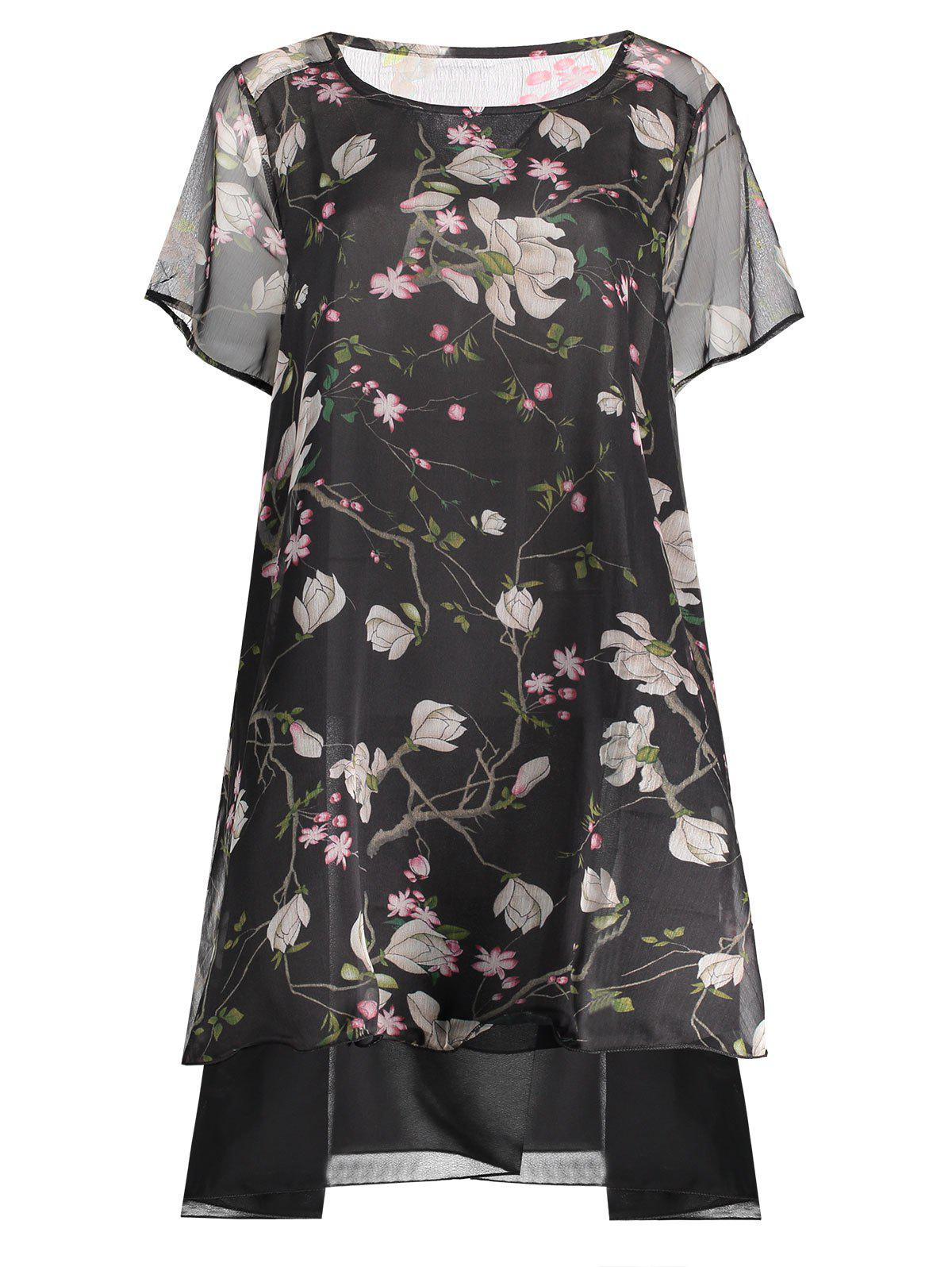 Chiffon Peacock Print Plus Size Layered Dress - BLACK 2XL