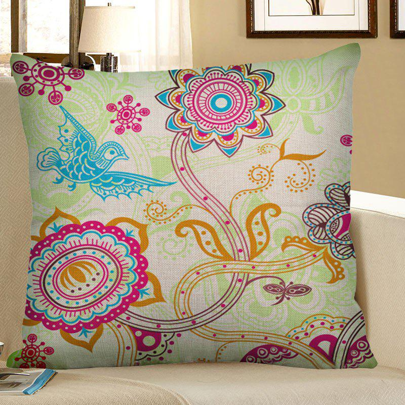 Bohemian Flower Bird Printed Linen Throw Pillow Case lotus printed linen home decor throw pillow cover