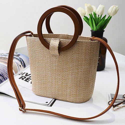 Round Handle Weave Handbag - KHAKI