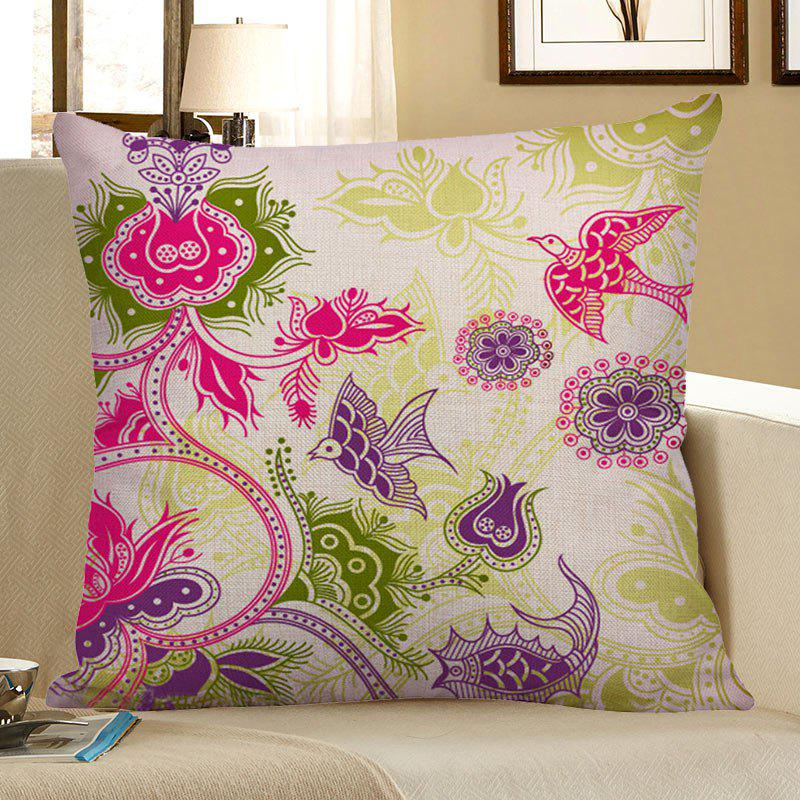 Decorative Floral Bird Print Pillow Case - COLORFUL 45*45CM