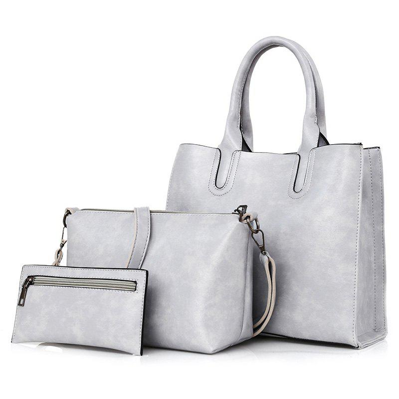 3 Pieces Faux Leather Tote Bag Set - LIGHT GRAY