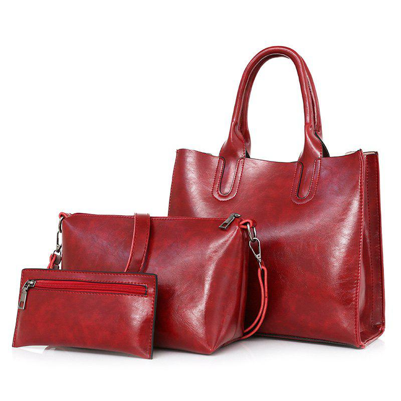 3 Pieces Faux Leather Tote Bag Set - RED