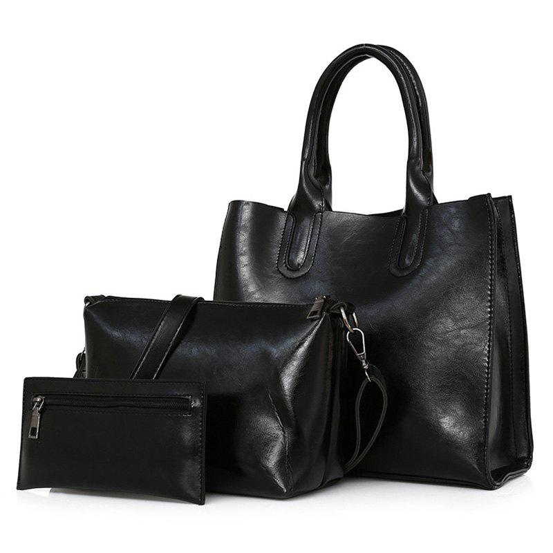3 Pieces Faux Leather Tote Bag Set - BLACK