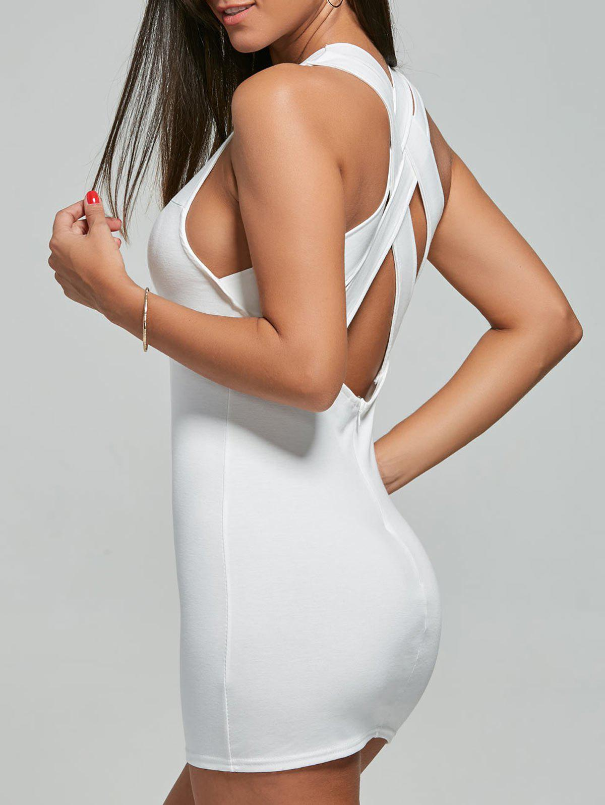 Criss Cross Backless Mini Dress - WHITE S