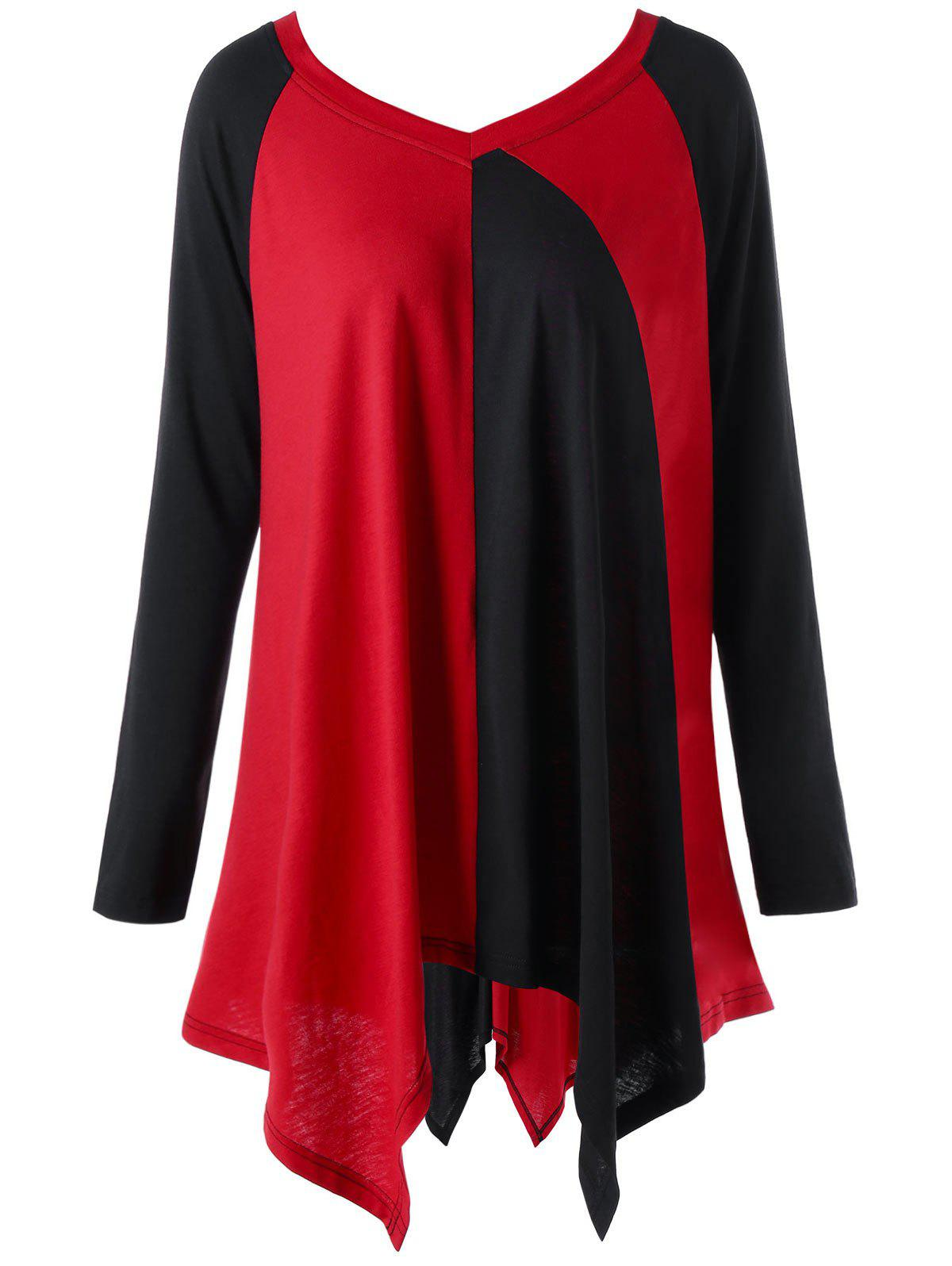 Plus Size Color Block Handkerchief T Shirt Red Black Xl