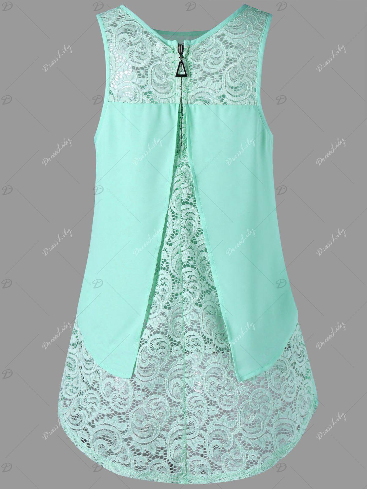 High Low Lace Panel Sleeveless Blouse - MINT XL