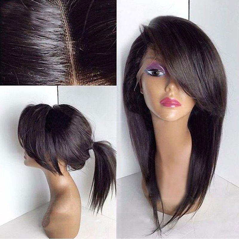 Deep Side Bang Long Straight Synthetic Lace Front Wig - BROWN