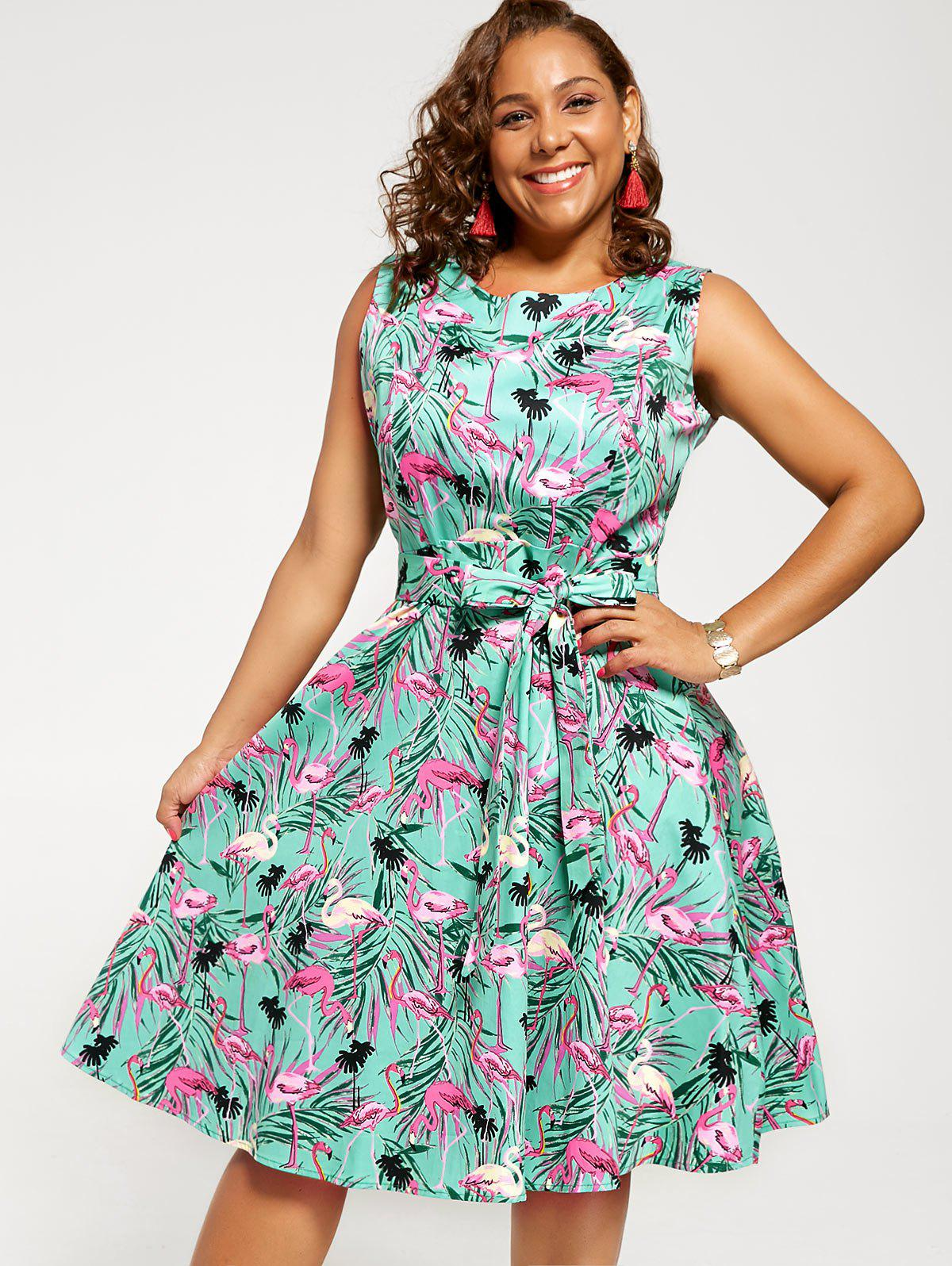 Plus Size Animal Print Pin Up Dress - GREEN 4XL