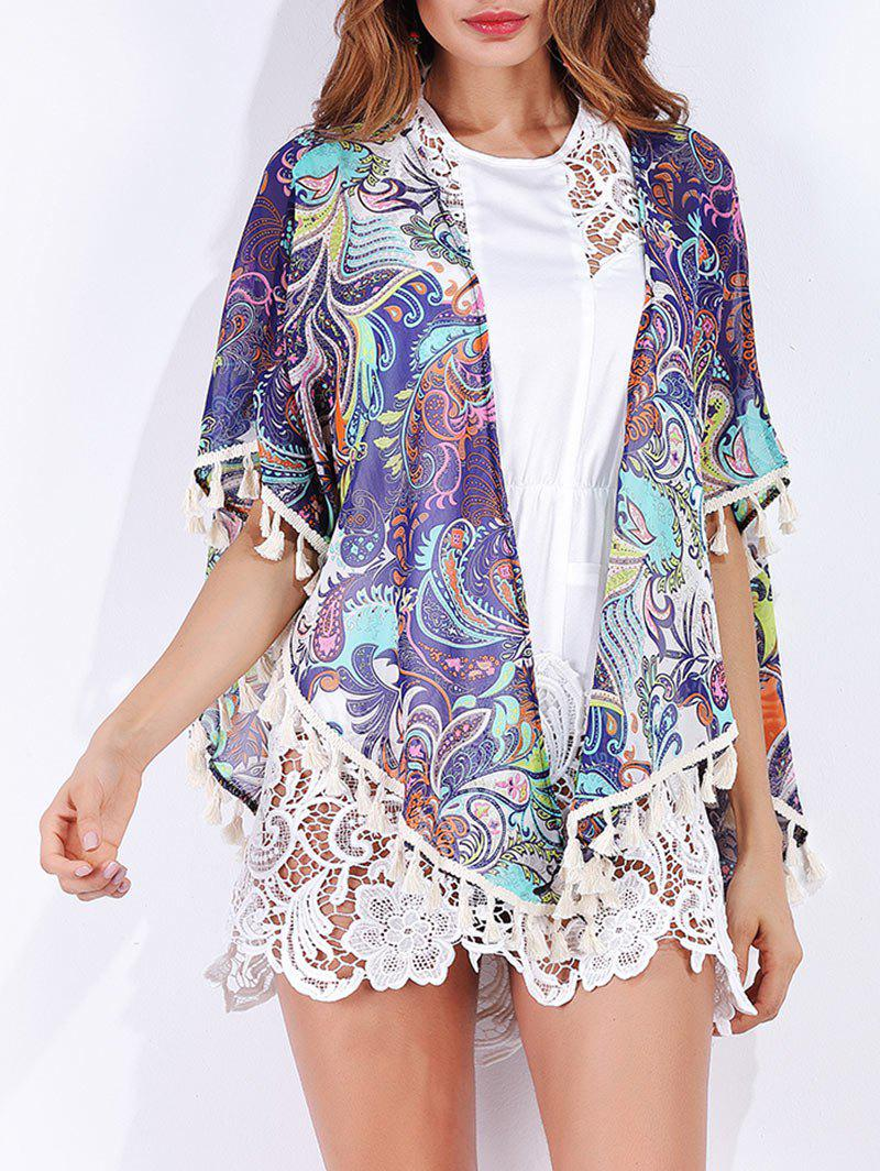 Tribal Print Tassels Chiffon Cover Up - multicolorcolore L