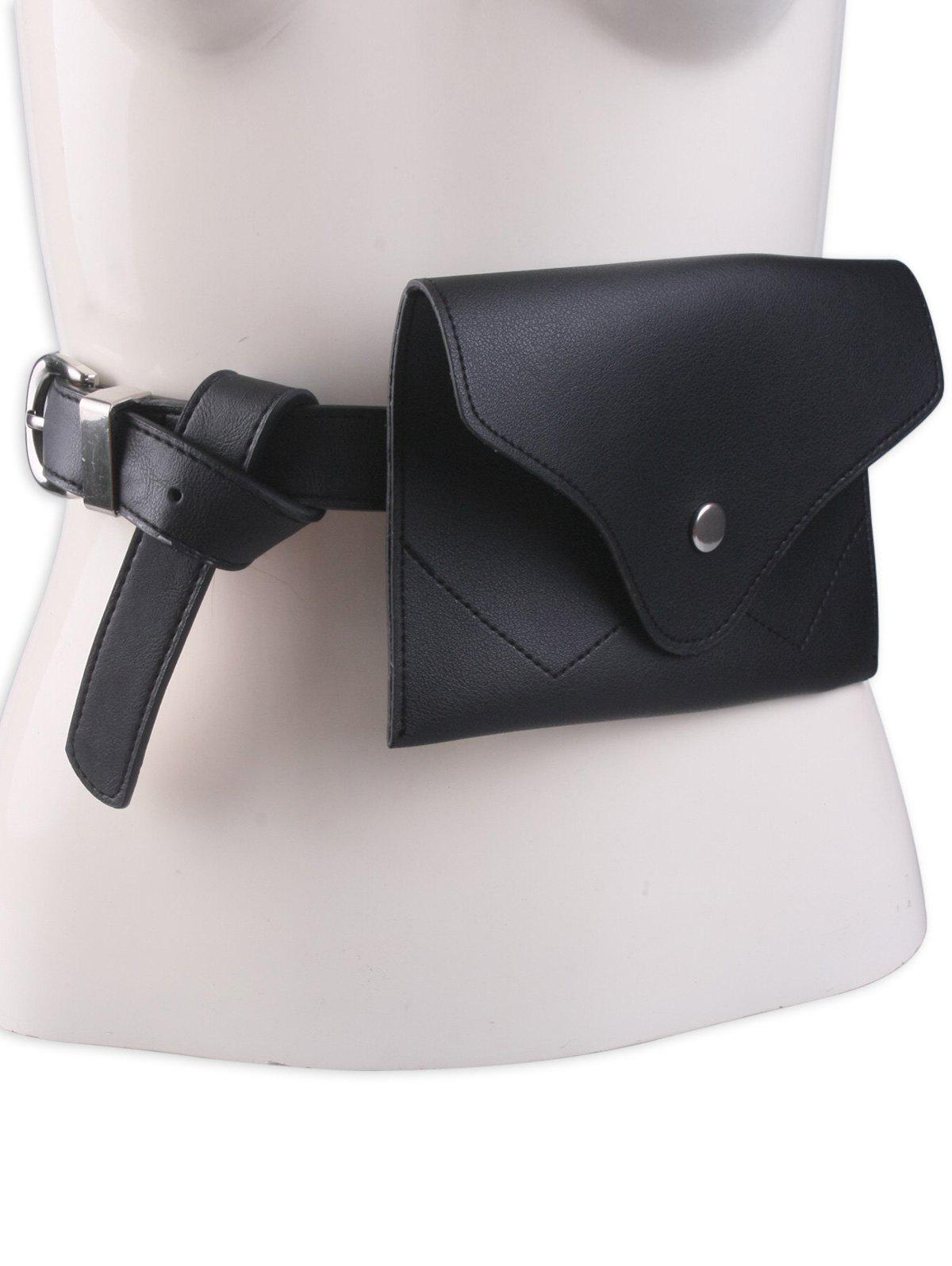 Portable Pin Buckle Faux Leather Waist Belt Bag, Black