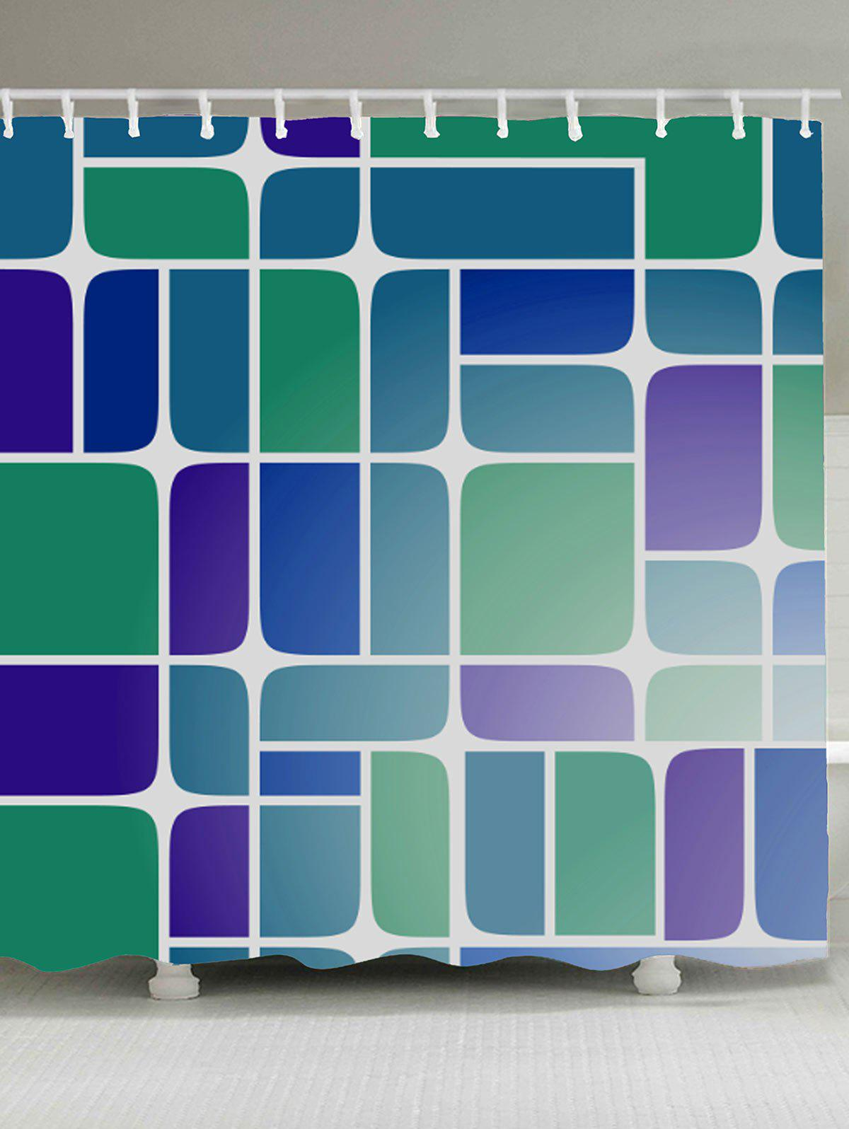 Geometry Print Mildewproof Fabric Shower Curtain - COLORMIX W71 INCH * L71 INCH