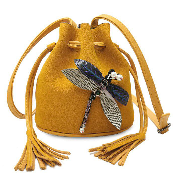 Tassel Dragonfly Embellished Bucket Bag tassel
