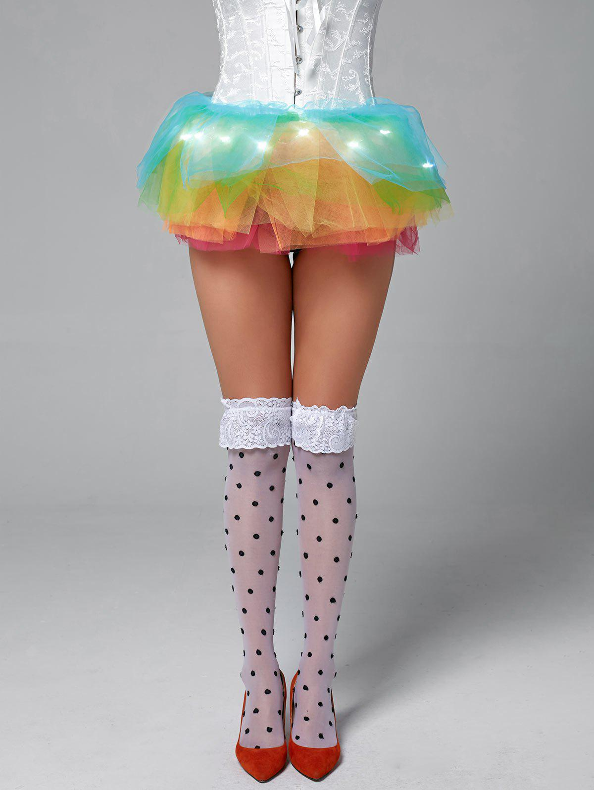 Rainbow Light Up Mesh Tutu Cosplay Jupe - multicolor ONE SIZE