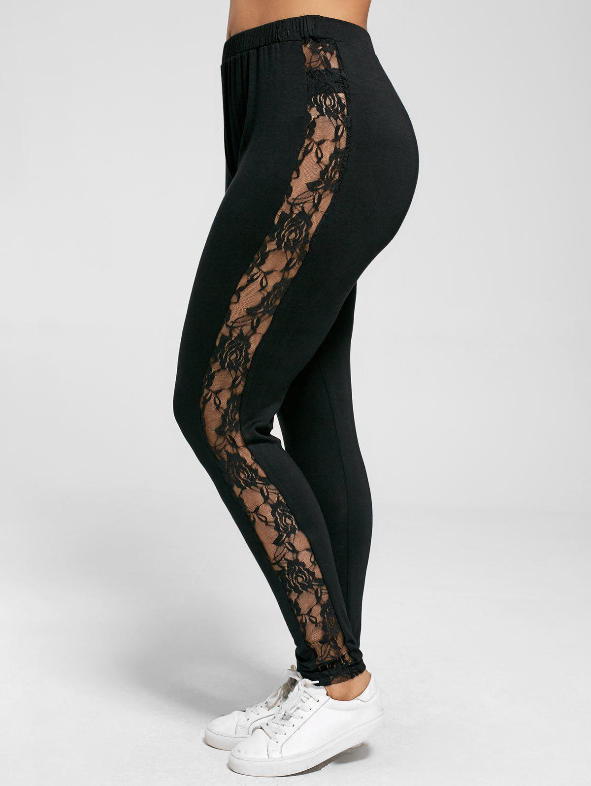 Plus Size Lace Insert Sheer Leggings plus size lace insert sheer leggings