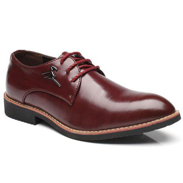 Metal Embellishment Faux Leather Formal Shoes - WINE RED 40
