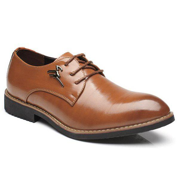 Enjoliveur en métal Faux Leather Formal Shoes - BRUN 43