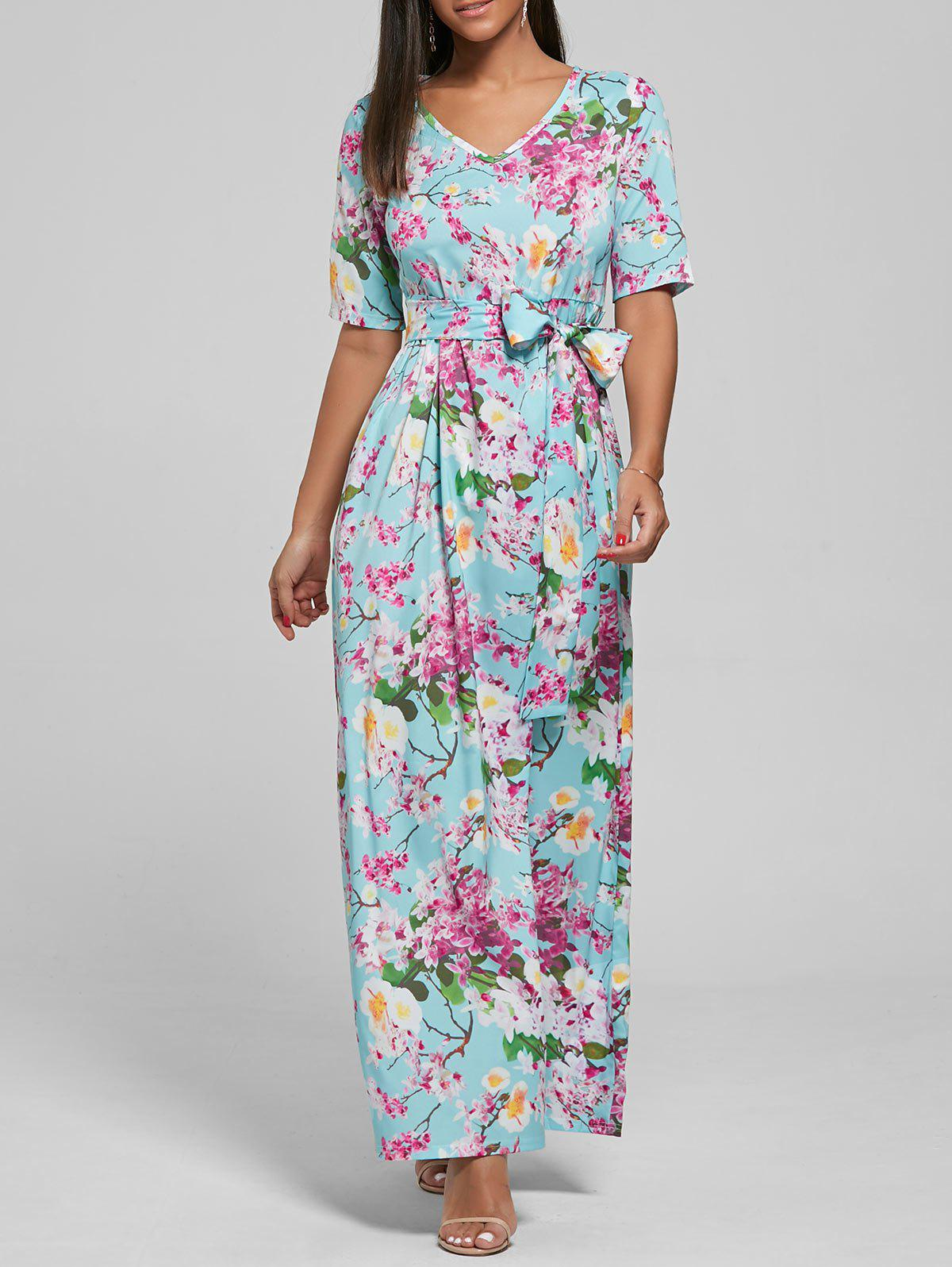 Bohemian V Neck Floral Maxi Dress - WINDSOR BLUE XL