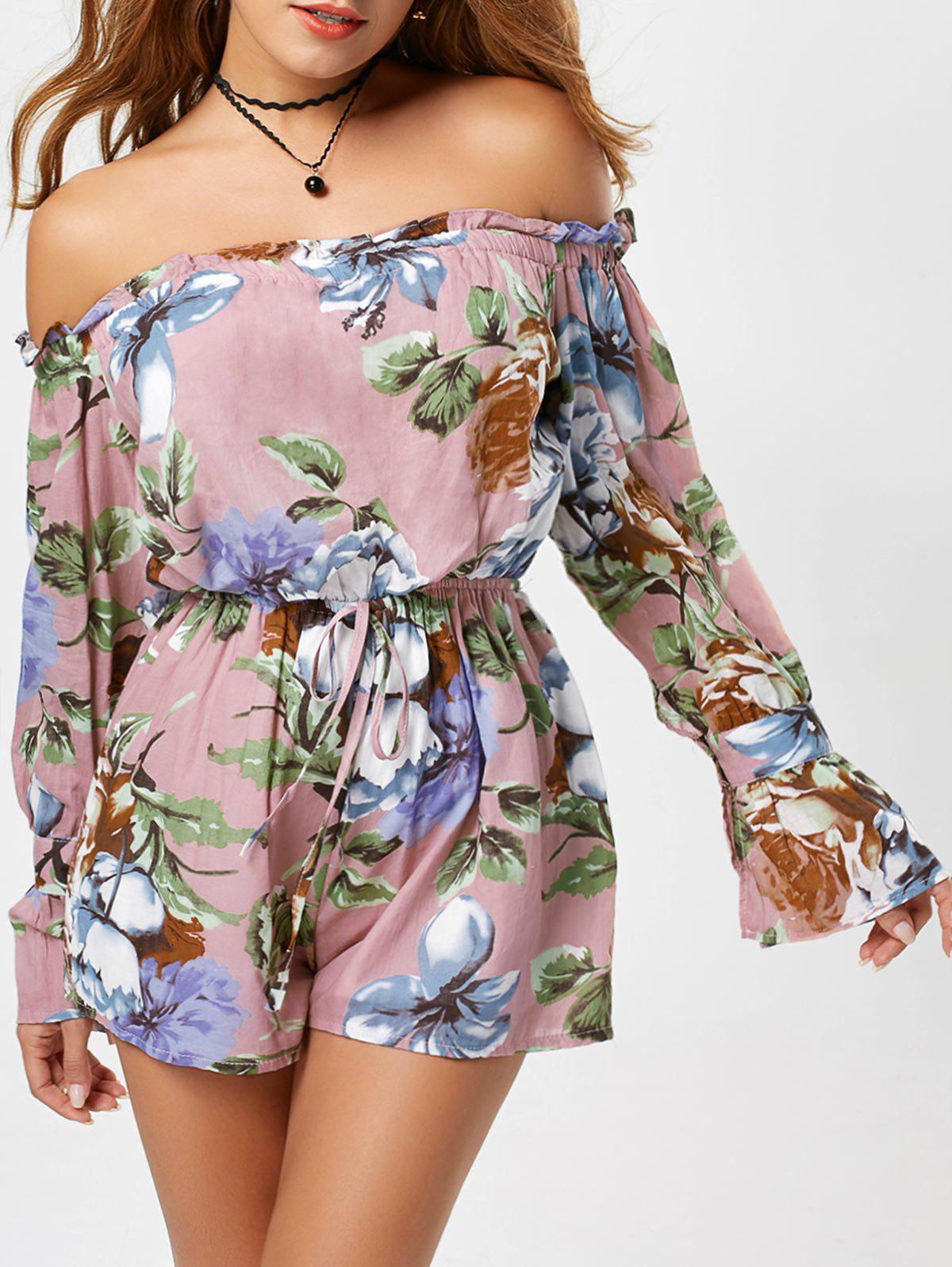 Off The Shoulder Long Sleeve Floral Romper - PINK S