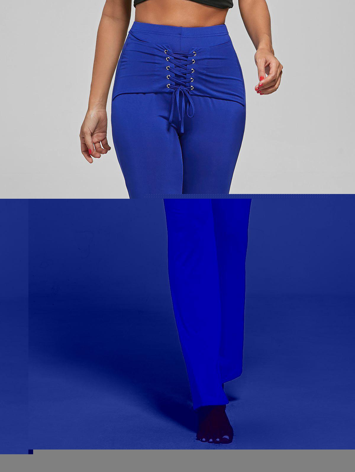 Lace Up Corset Pants - BLUE S