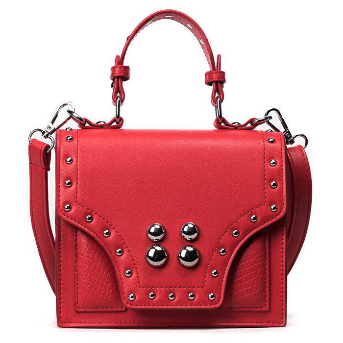 Faux Leather Rivet Flapped Handbag - RED