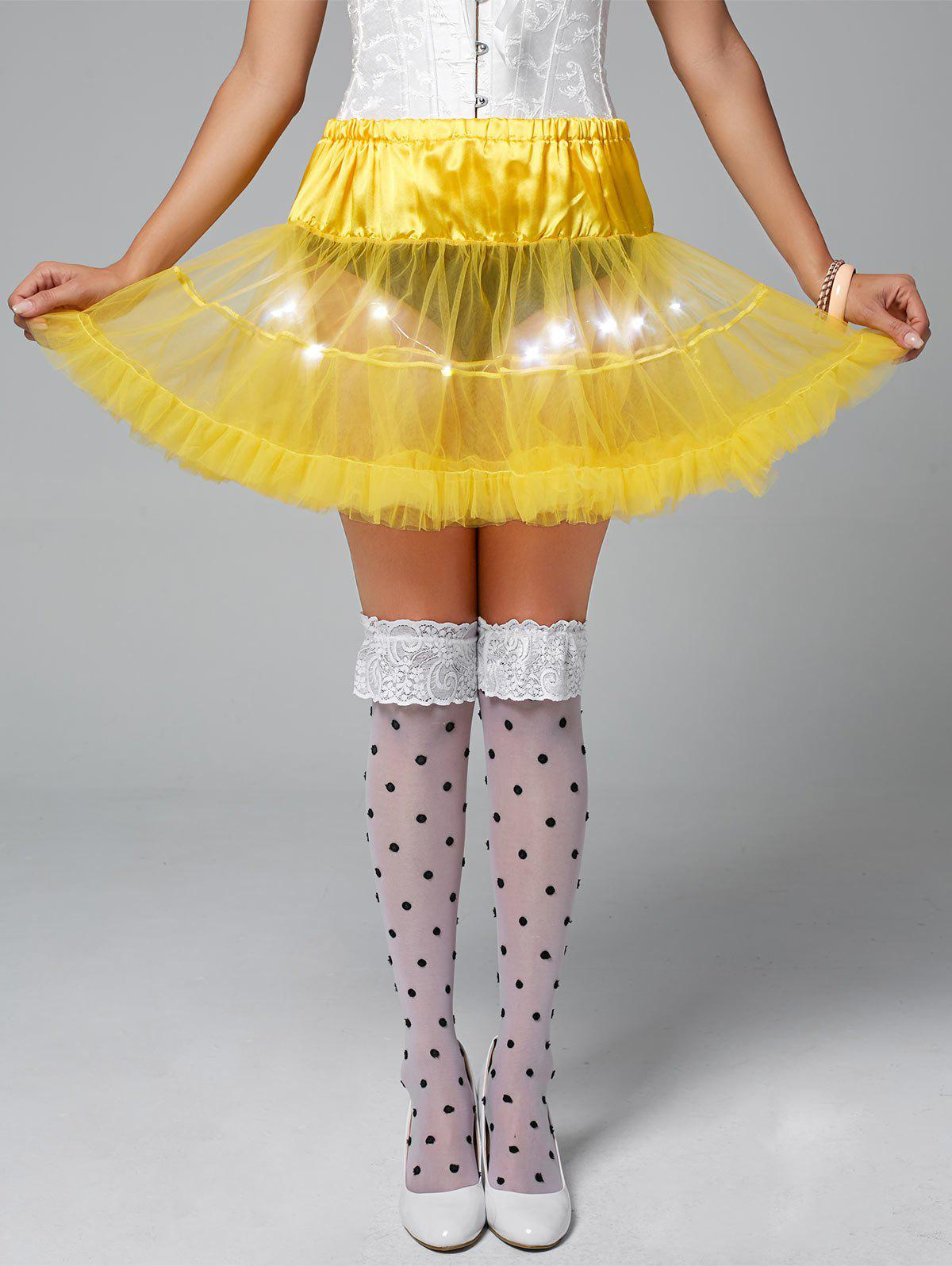 Ruffles Light Up Tutu Voile Cosplay Jupe - Jaune ONE SIZE